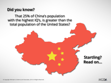 25% of China's population with the highest IQ's…