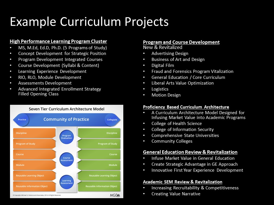 MGDA Curriculum Projects